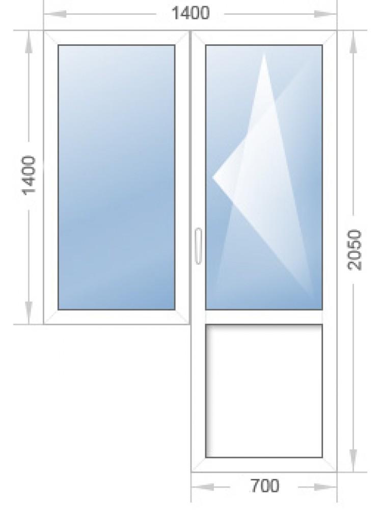 Оконный блок (окно с дверью) с установкой и доставкой по Челябинску